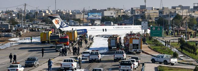 Airliner Crash-Lands Into Highway in Mahshahr