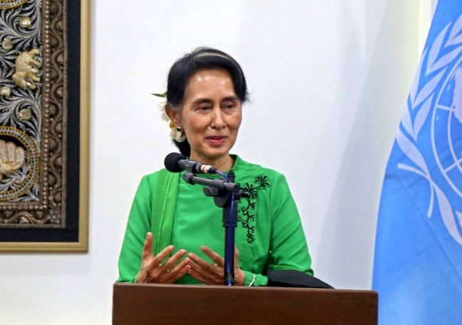 Hundreds protest in Myanmar over Suu Kyi's panel on Rohingya Muslims