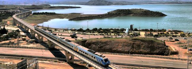 Iran President Flags Off Train Along New Rail Section of INSTC