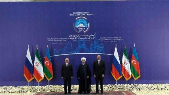 Iran's Rouhani, Russia's Putin and Azerbaijan's Aliyev meet in Tehran